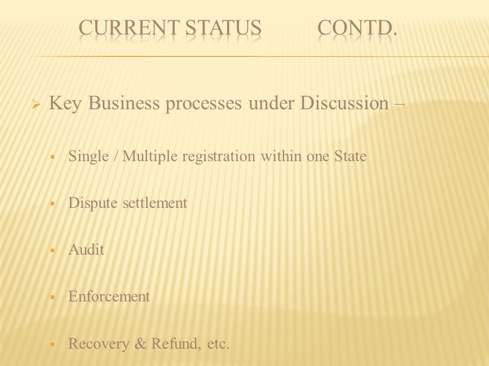 CURRENT STATUS contd. Key Business processes under Discussion –