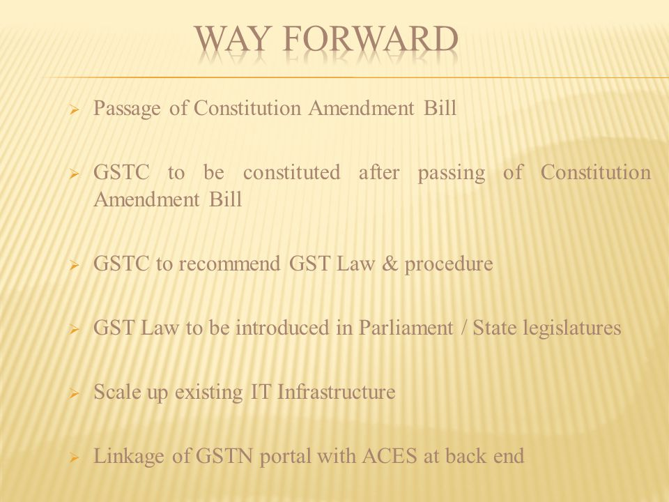 Way Forward Passage of Constitution Amendment Bill