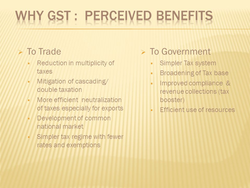 Why GST : Perceived Benefits