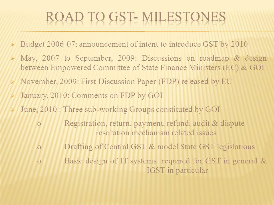 ROAD TO GST- MILESTONES