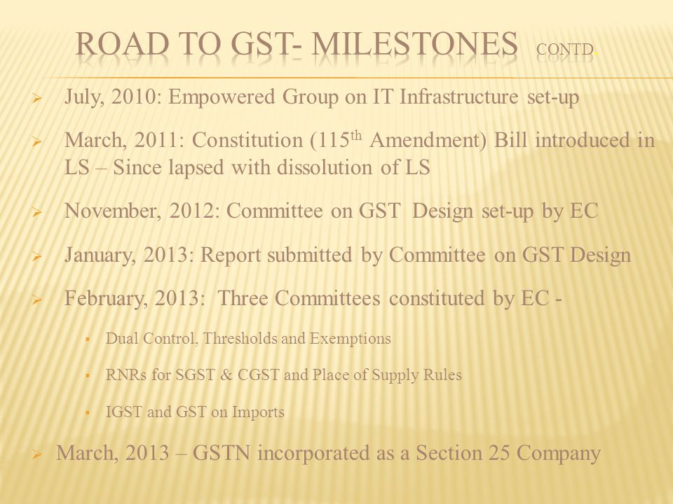 ROAD TO GST- MILESTONES contd.