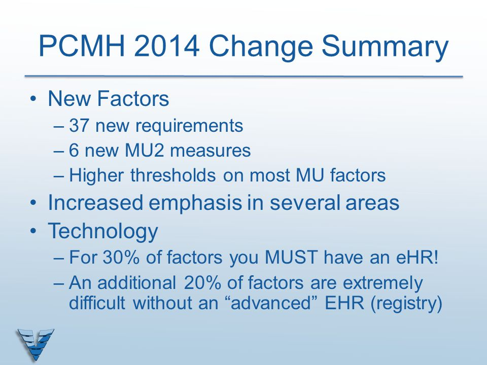 PCMH 2014 Change Summary New Factors