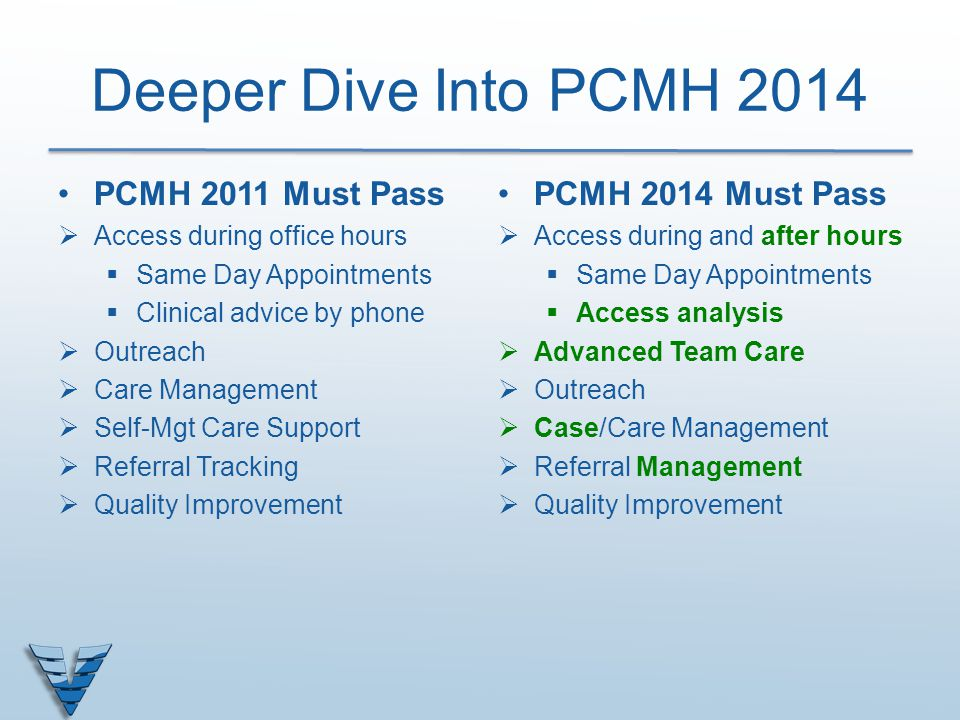 Deeper Dive Into PCMH 2014 PCMH 2011 Must Pass PCMH 2014 Must Pass