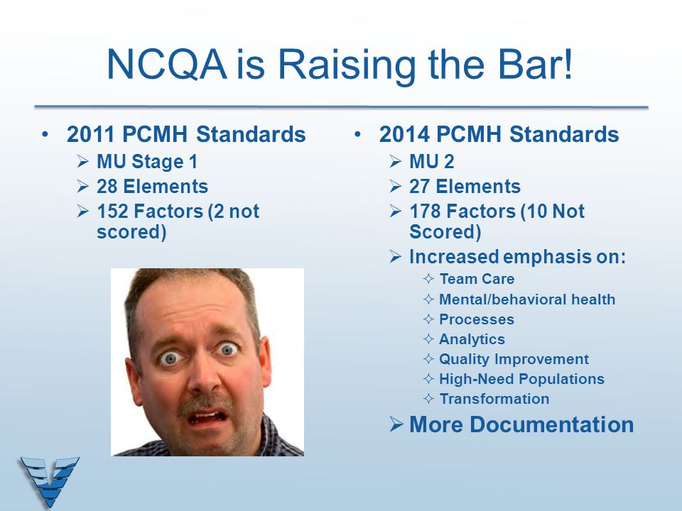 NCQA is Raising the Bar! 2011 PCMH Standards 2014 PCMH Standards