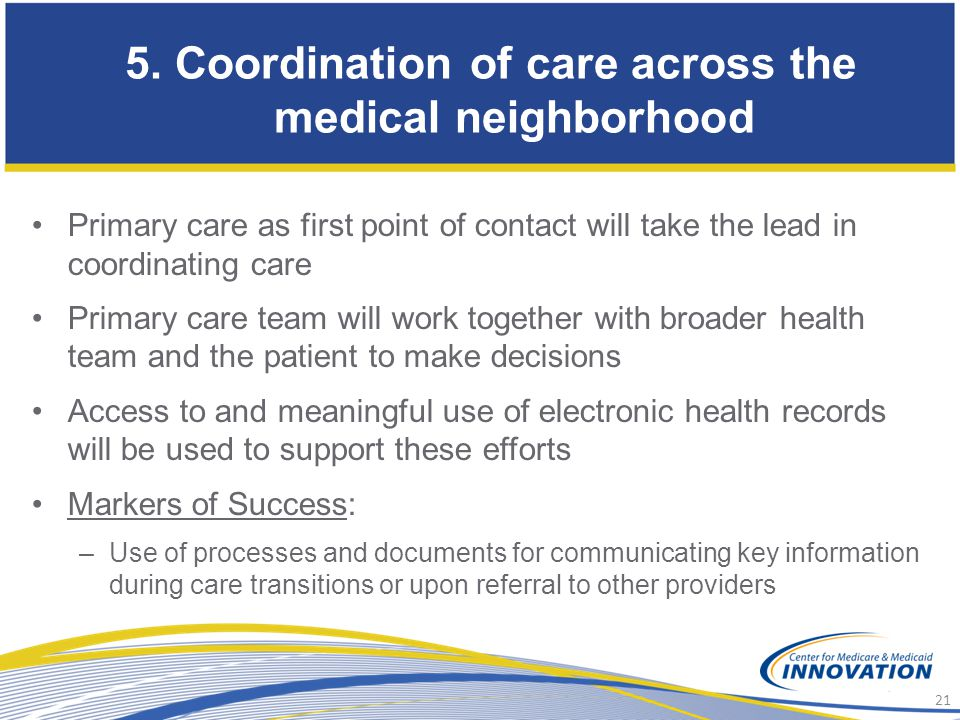 5. Coordination of care across the medical neighborhood
