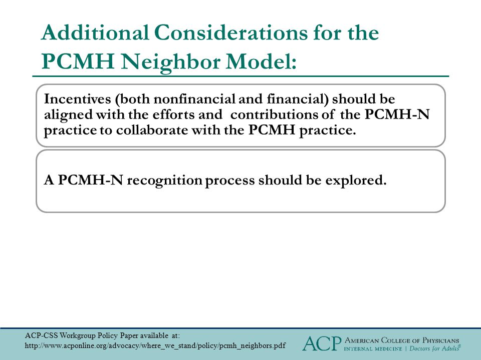Additional Considerations for the PCMH Neighbor Model: