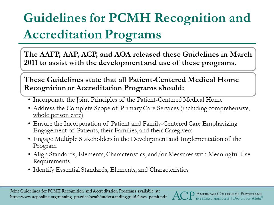 Guidelines for PCMH Recognition and Accreditation Programs