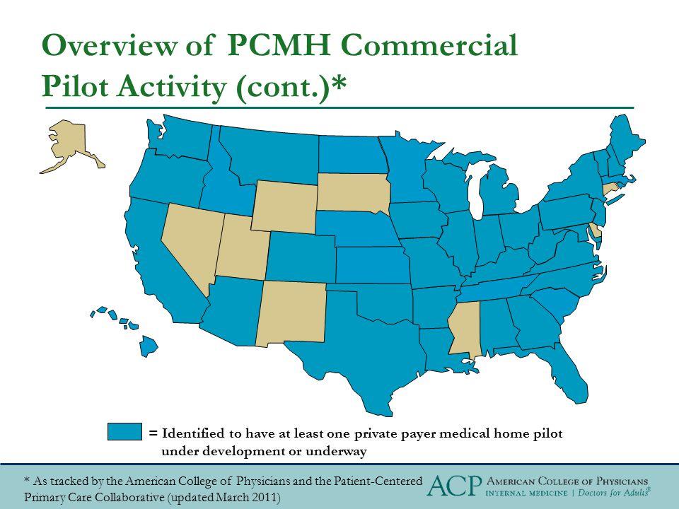 Overview of PCMH Commercial Pilot Activity (cont.)*