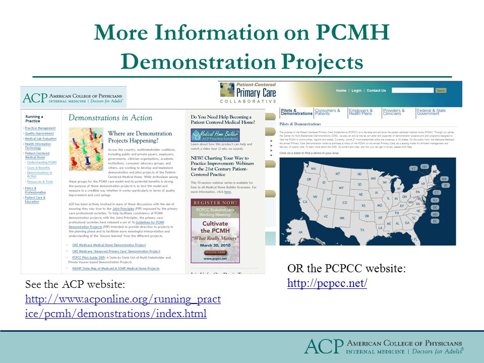 More Information on PCMH Demonstration Projects