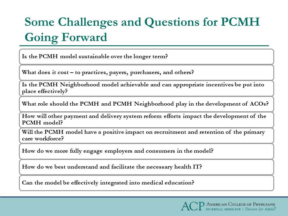 Some Challenges and Questions for PCMH Going Forward