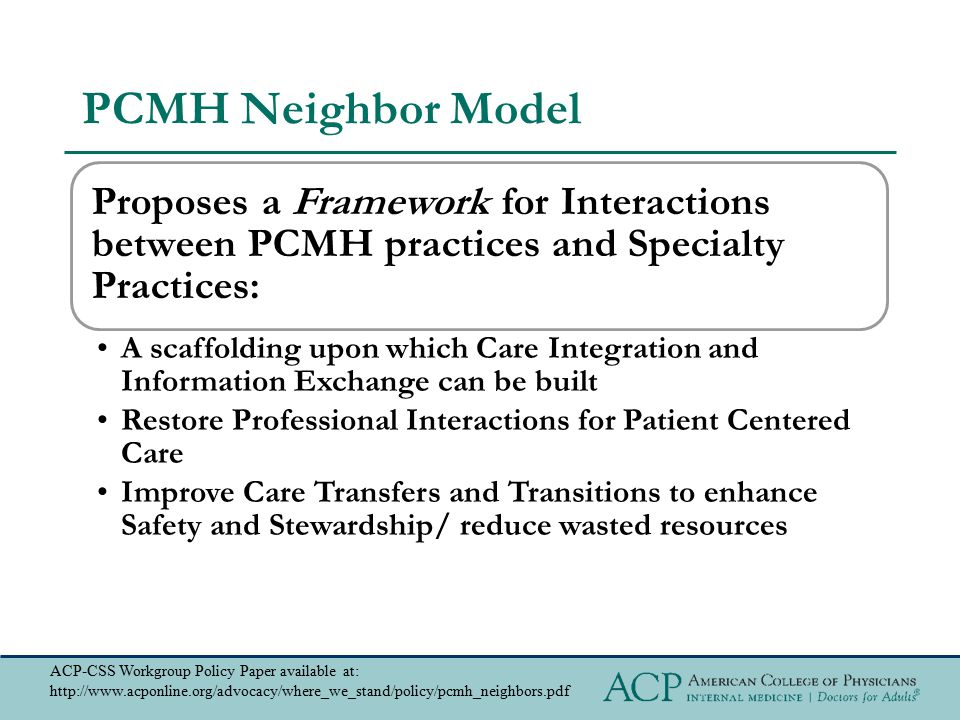 PCMH Neighbor Model Proposes a Framework for Interactions between PCMH practices and Specialty Practices: