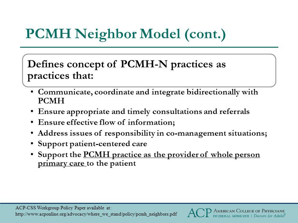 PCMH Neighbor Model (cont.)