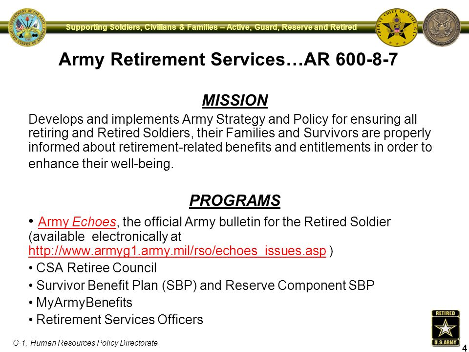 Army Retirement Services…AR 600-8-7