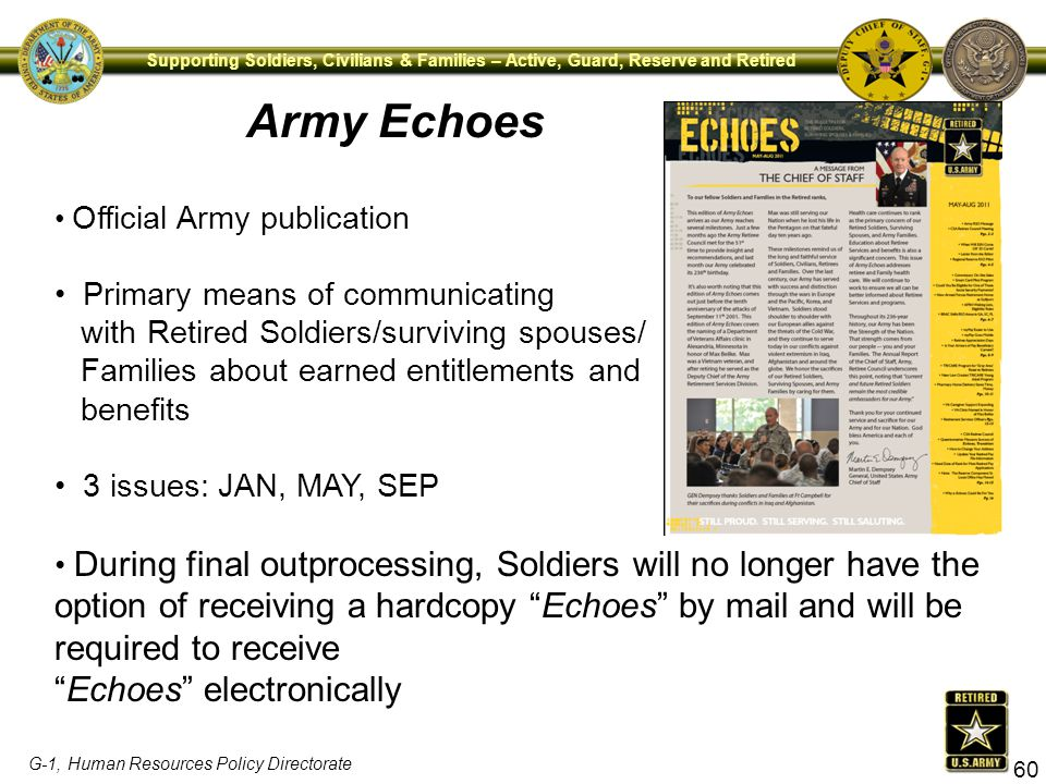 Army Echoes Echoes electronically Primary means of communicating