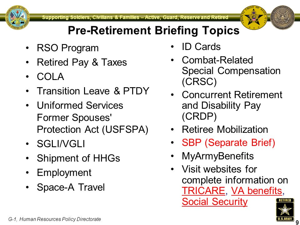 Pre-Retirement Briefing Topics