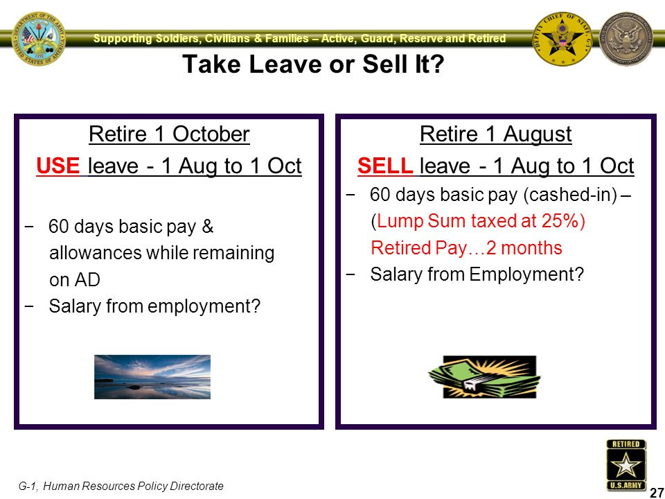 Take Leave or Sell It Retire 1 October USE leave - 1 Aug to 1 Oct