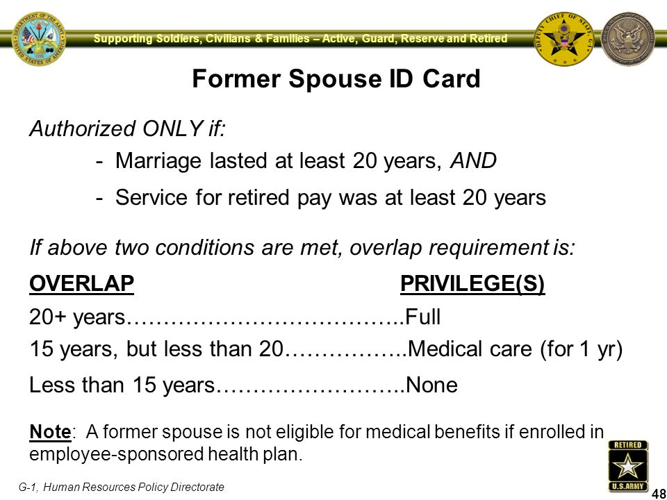 Former Spouse ID Card Authorized ONLY if: