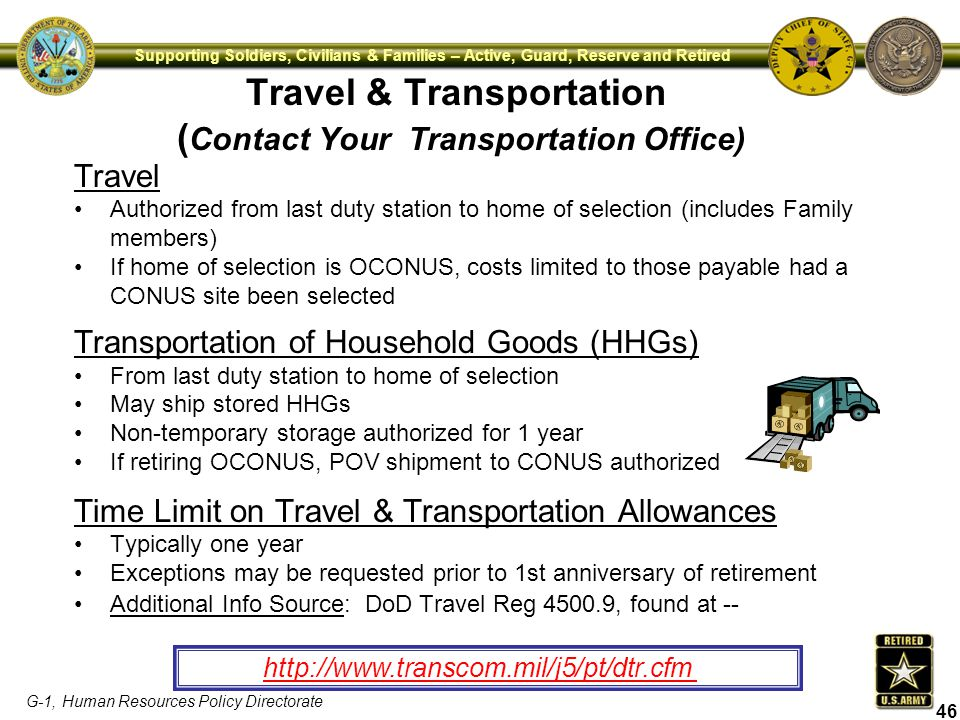 Travel & Transportation (Contact Your Transportation Office)