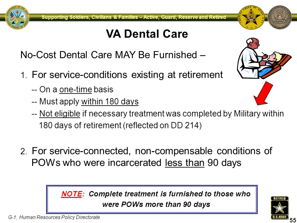 VA Dental Care No-Cost Dental Care MAY Be Furnished –