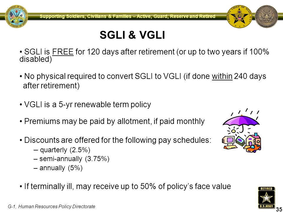 SGLI & VGLI SGLI is FREE for 120 days after retirement (or up to two years if 100% disabled)