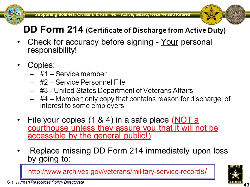 DD Form 214 (Certificate of Discharge from Active Duty)