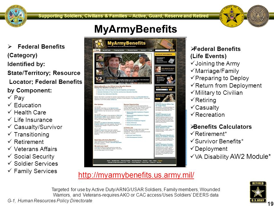 MyArmyBenefits http://myarmybenefits.us.army.mil/ Federal Benefits