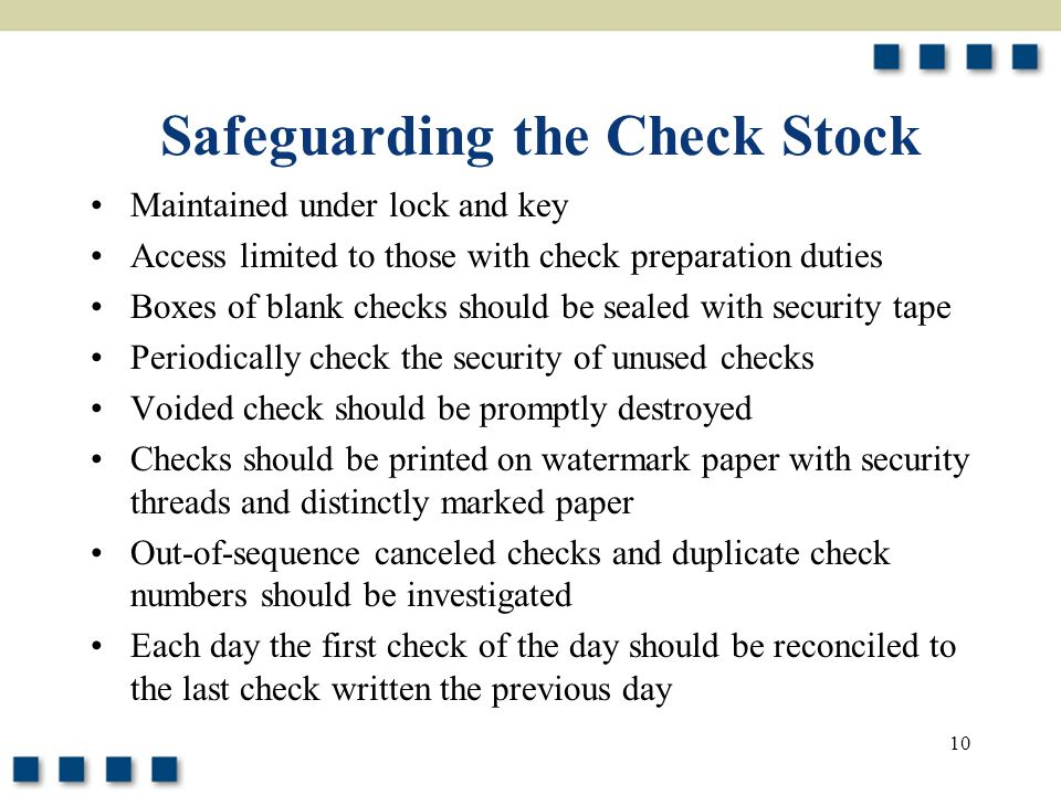 Safeguarding the Check Stock