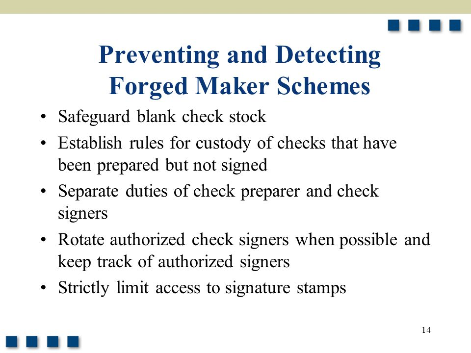 Preventing and Detecting Forged Maker Schemes