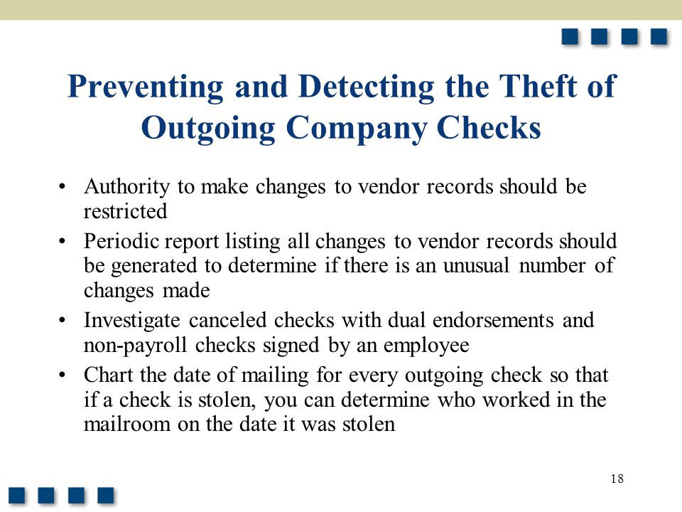 Preventing and Detecting the Theft of Outgoing Company Checks