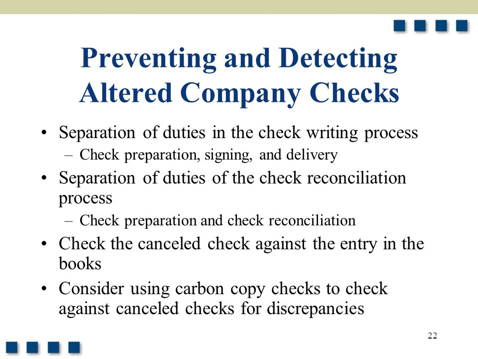 Preventing and Detecting Altered Company Checks