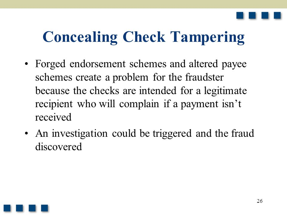 Concealing Check Tampering