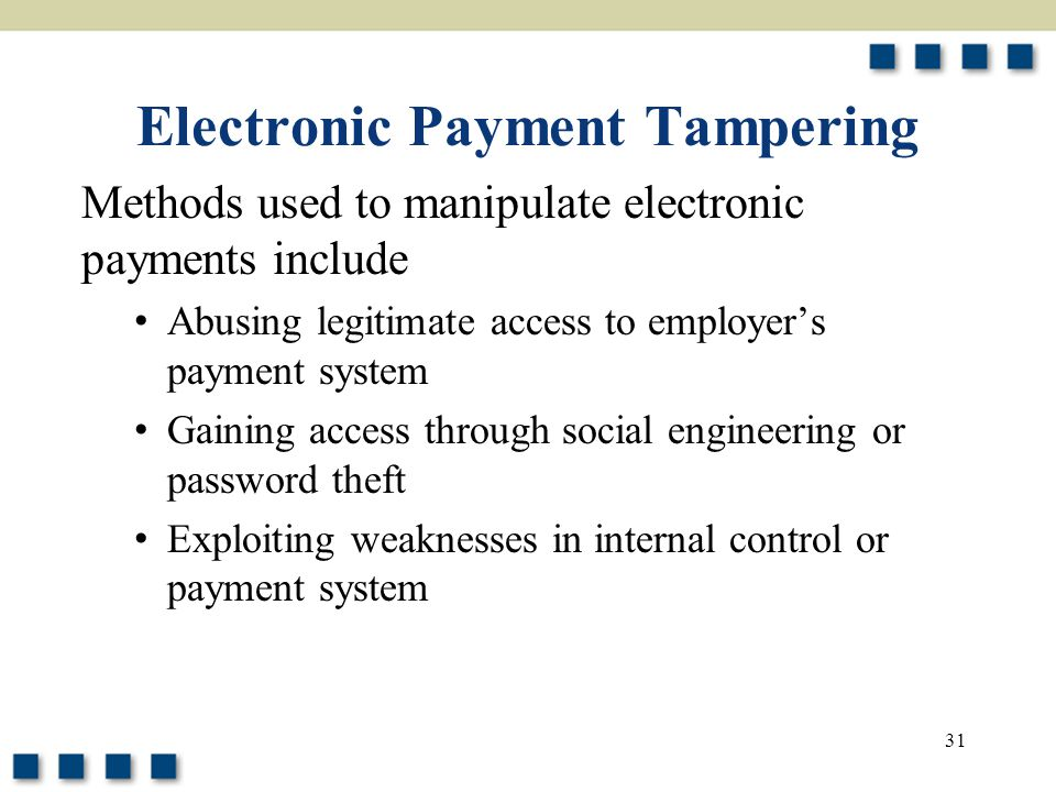 Electronic Payment Tampering