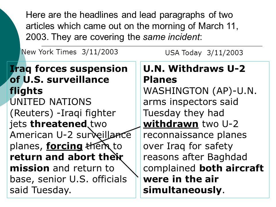 Iraq forces suspension of U.S. surveillance flights