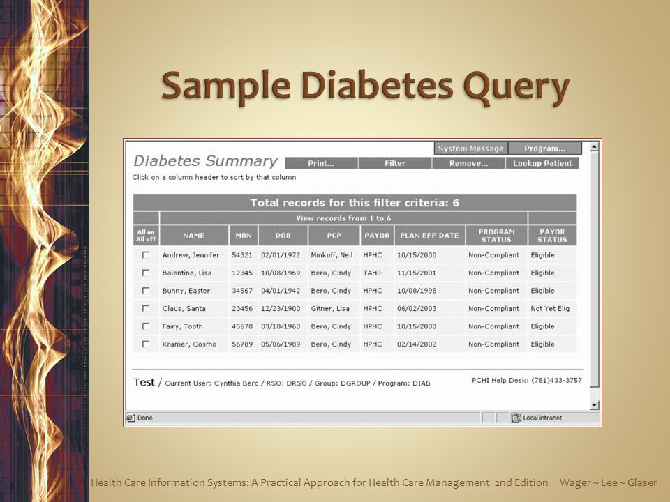 Sample Diabetes Query Health Care Information Systems: A Practical Approach for Health Care Management 2nd Edition Wager ~ Lee ~ Glaser.