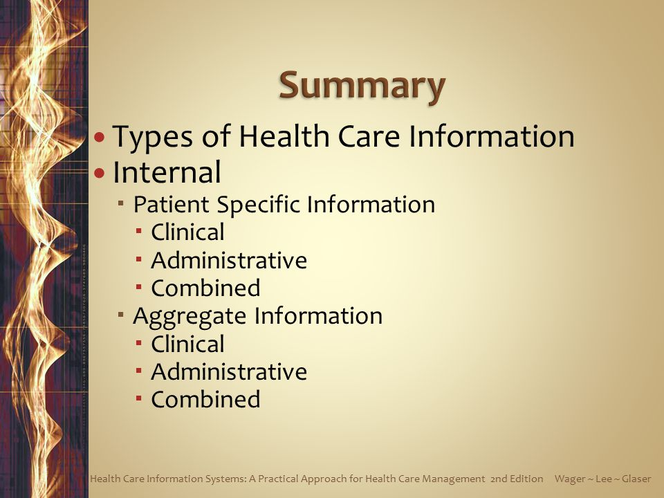 Summary Types of Health Care Information Internal