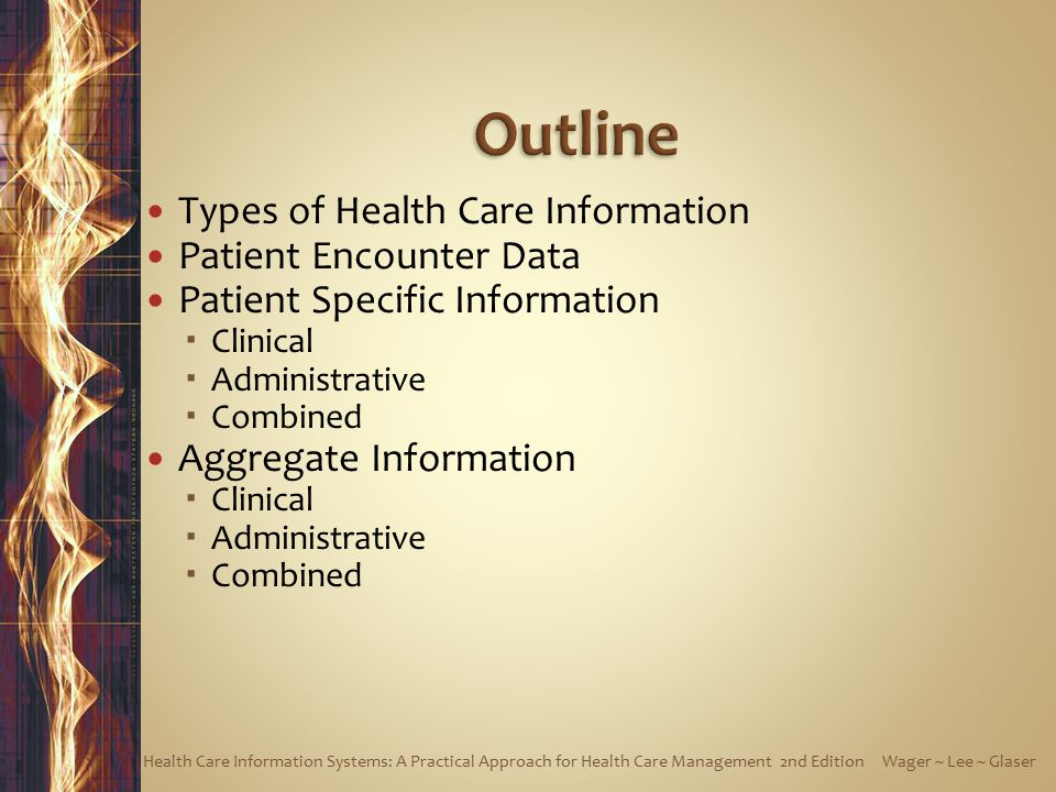 Outline Types of Health Care Information Patient Encounter Data