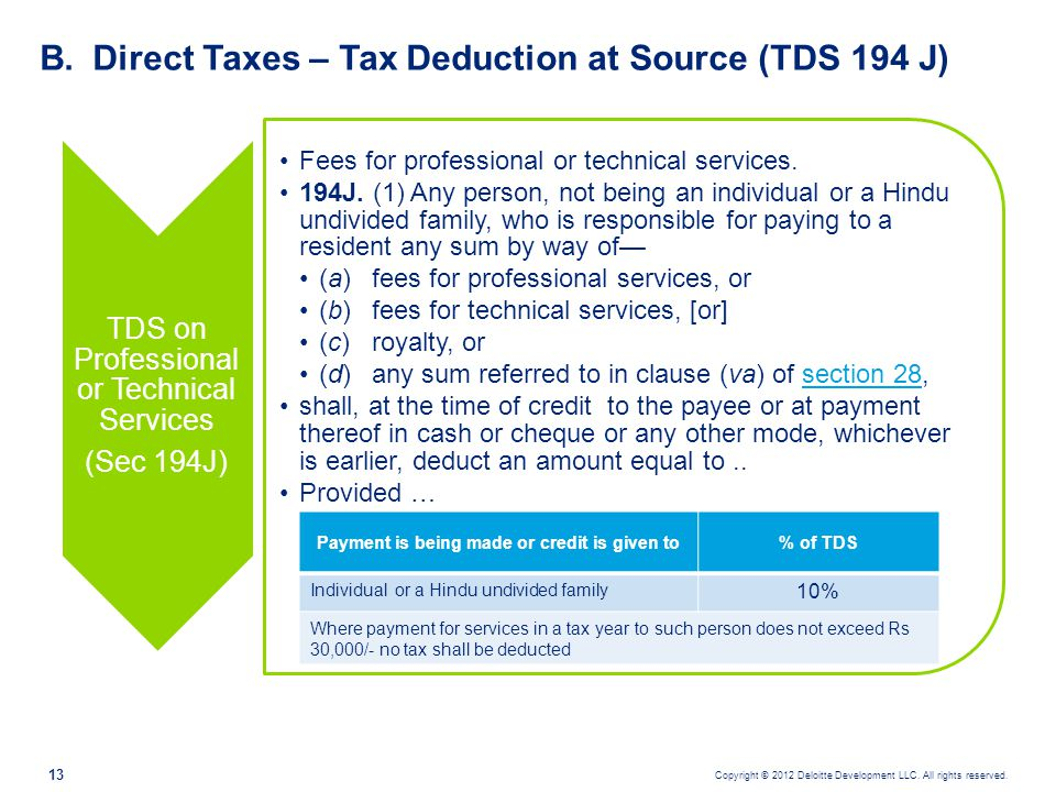 Direct Taxes – Tax Deduction at Source (TDS 194 J)