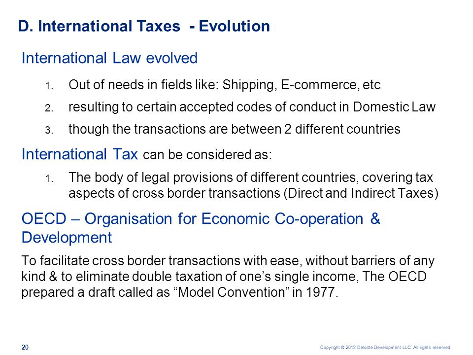 D. International Taxes - Evolution