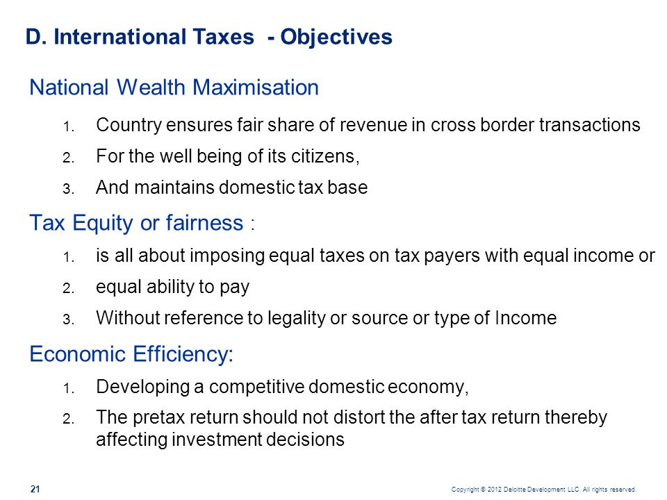 D. International Taxes - Objectives