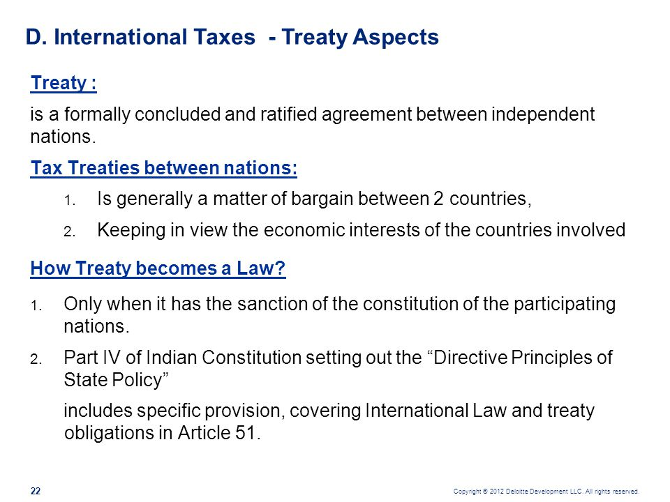 D. International Taxes - Treaty Aspects