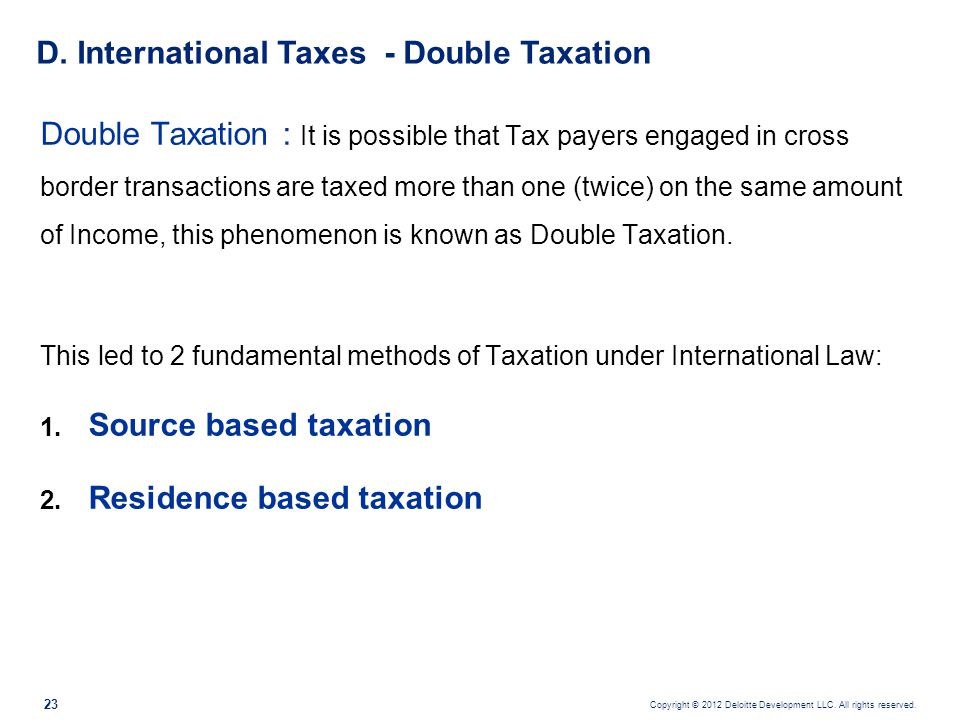 D. International Taxes - Double Taxation