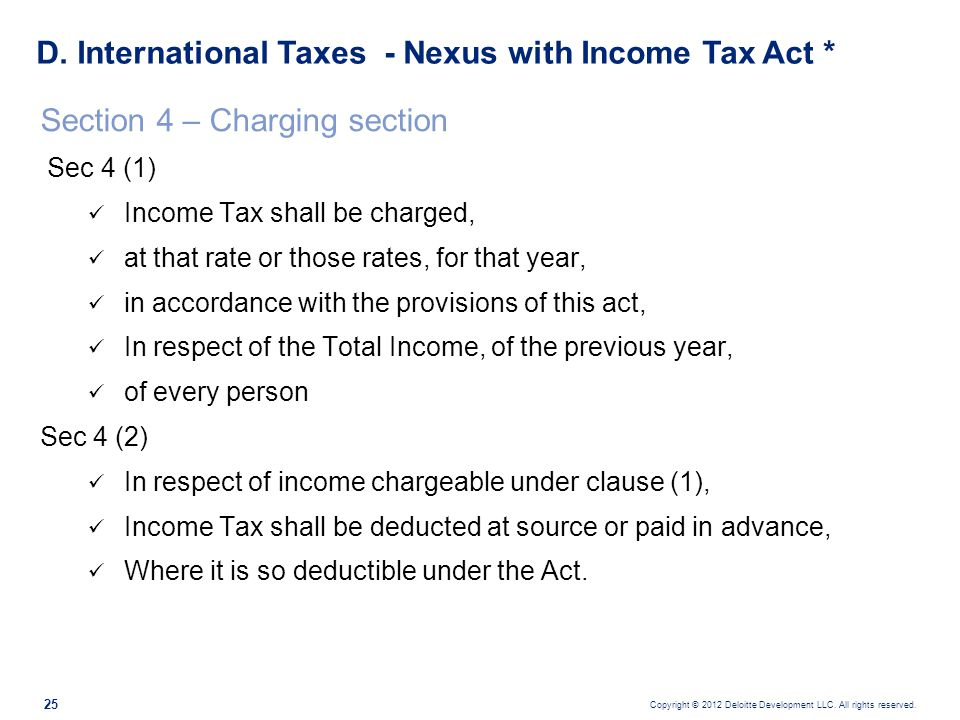 D. International Taxes - Nexus with Income Tax Act *