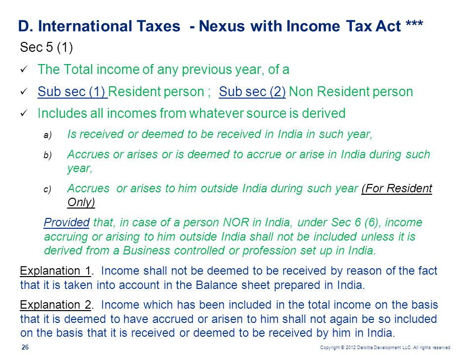 D. International Taxes - Nexus with Income Tax Act ***