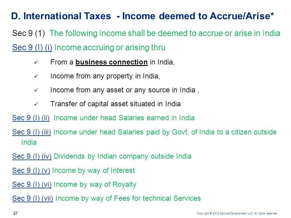 D. International Taxes - Income deemed to Accrue/Arise*