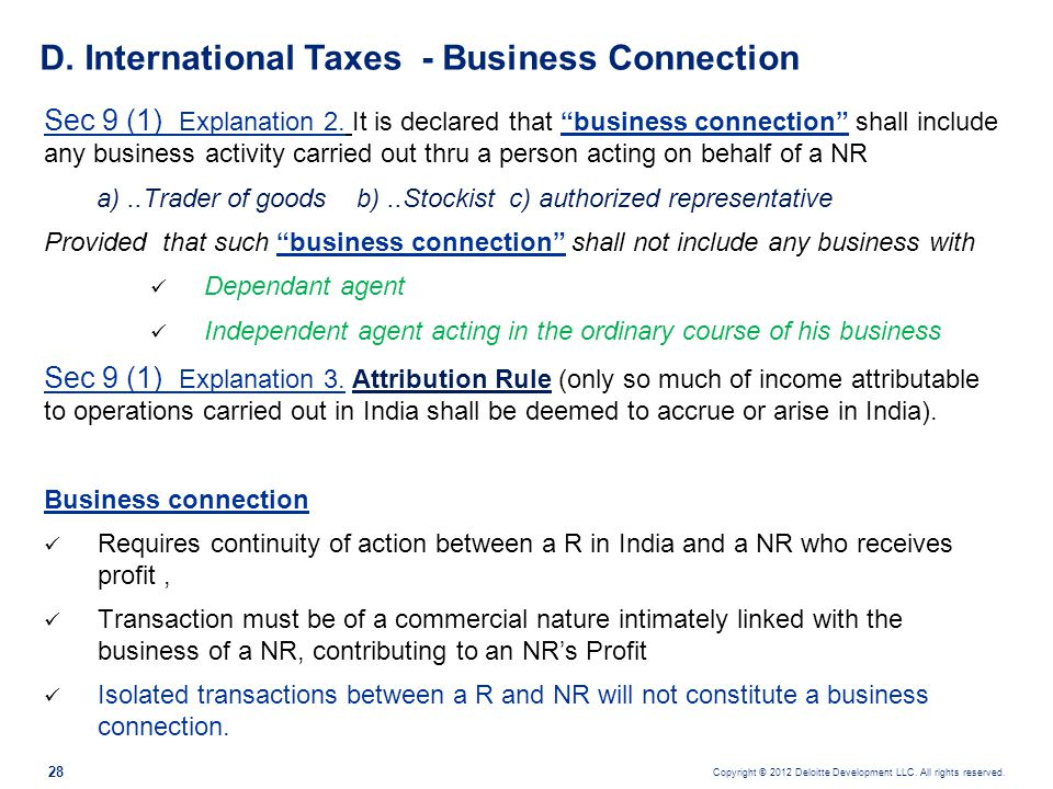 D. International Taxes - Business Connection
