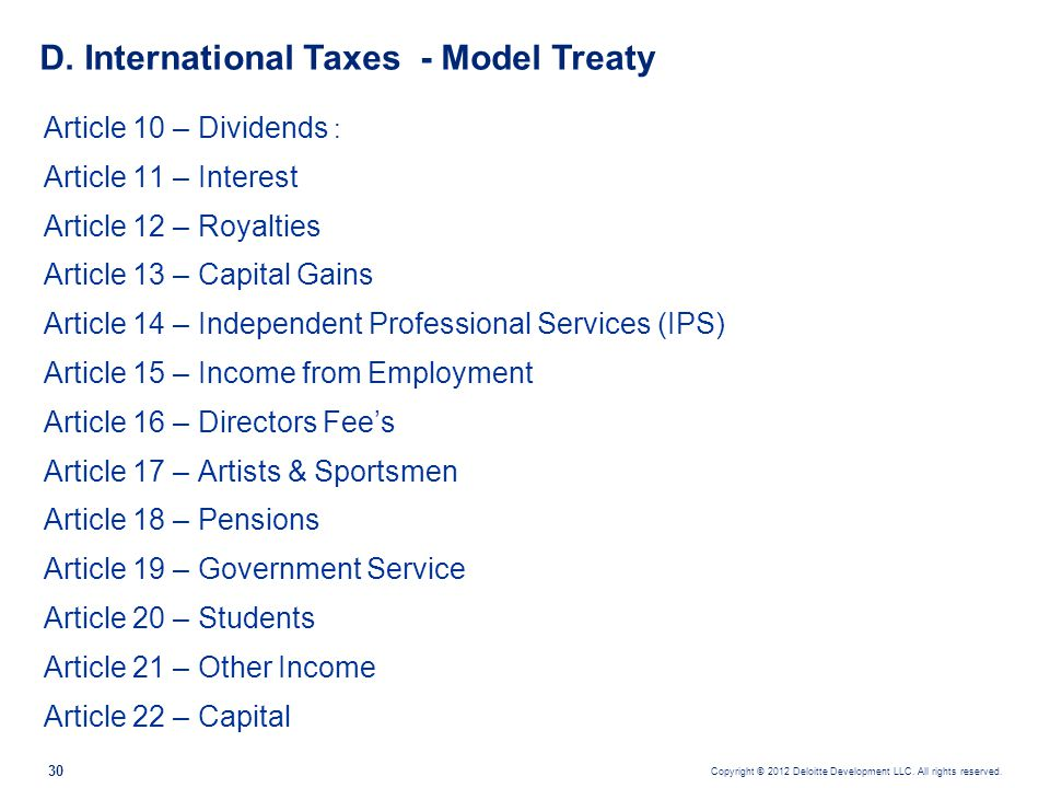 D. International Taxes - Model Treaty