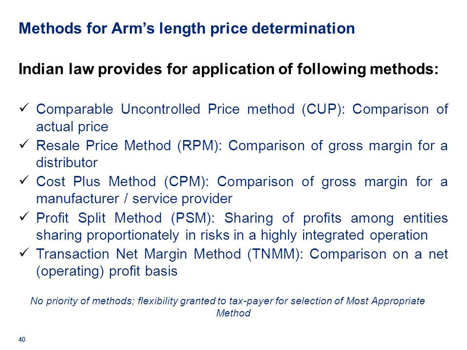 Methods for Arm's length price determination