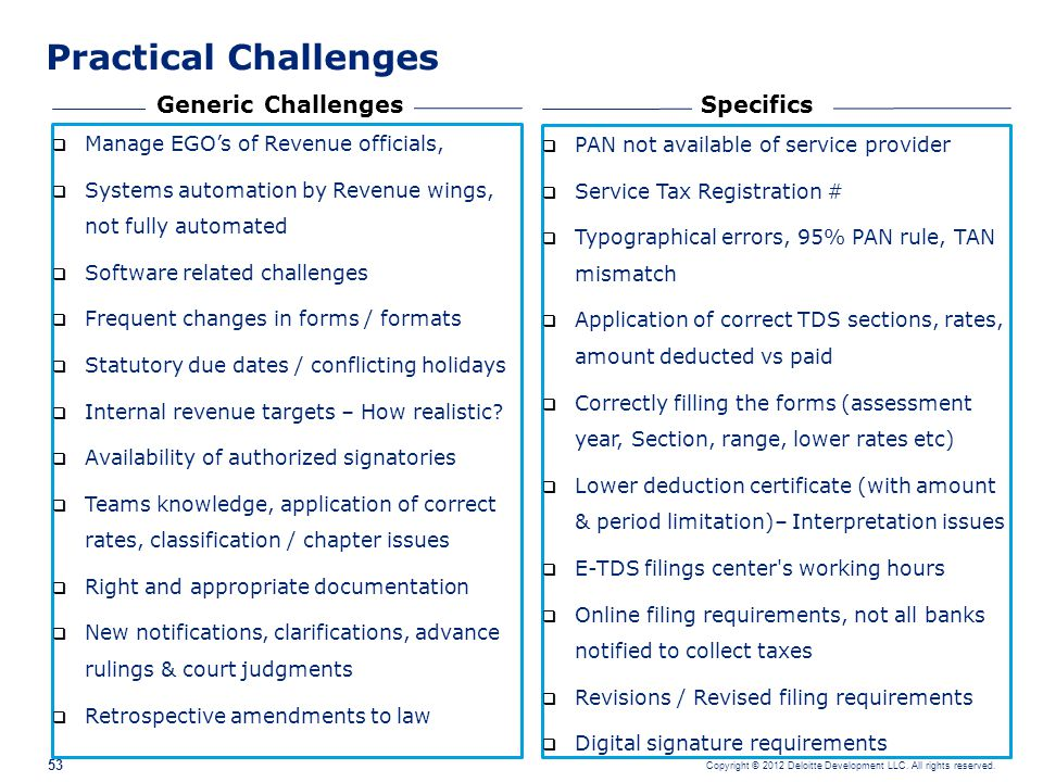 Practical Challenges Generic Challenges Specifics