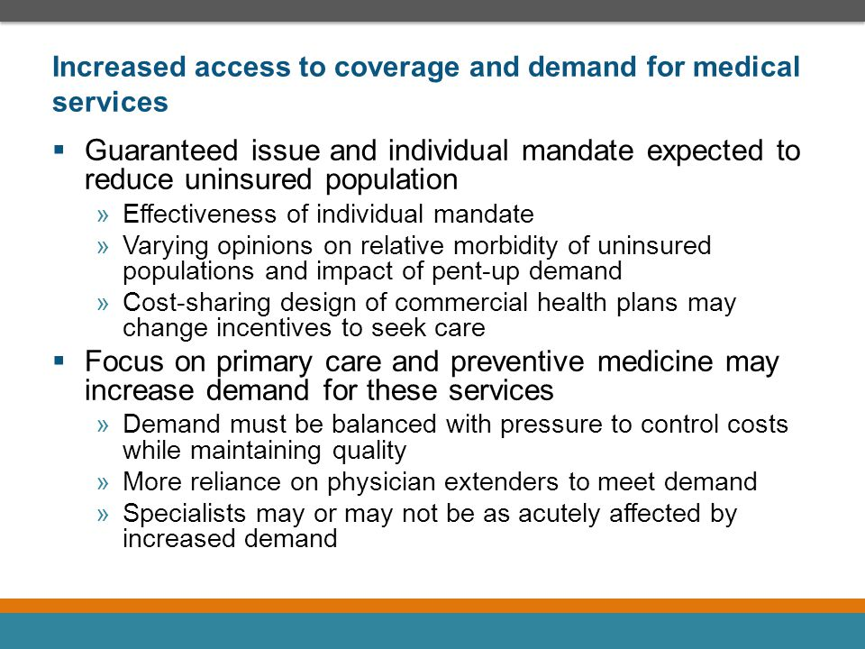 Increased access to coverage and demand for medical services