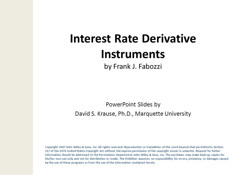 Interest Rate Derivative Instruments by Frank J. Fabozzi